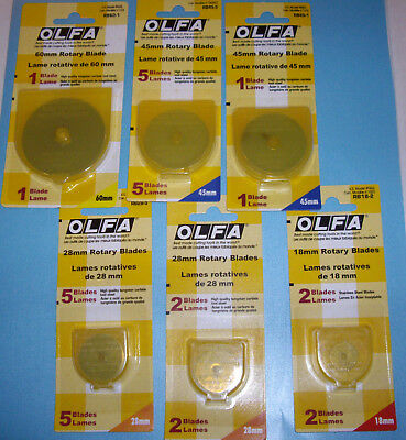NEW OLFA ROTARY BLADE * You Choose Size *  60mm 45mm 28mm 18mm 1 pk. 2 pk. 5 pk.