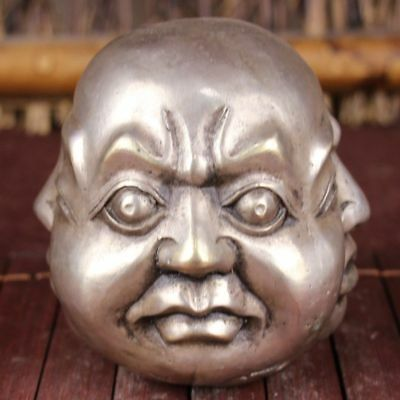 Beautiful Fine Chinese Bronze Copper silvering 四面佛头Four-Face Buddmst ldol
