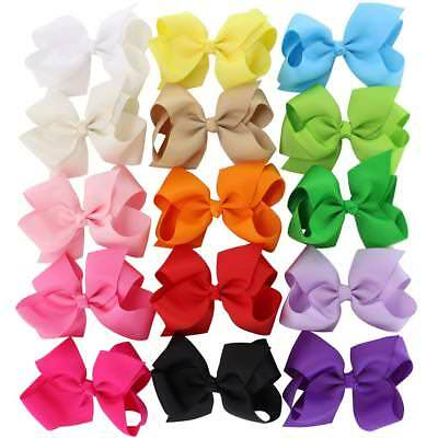 4.5in Hair Bows Grosgrain Ribbon Baby Girls Large Butique Bow Clip For Girls Set