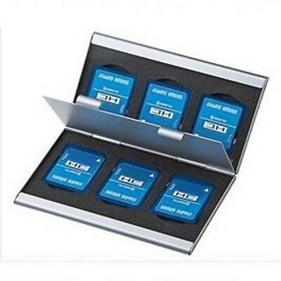 Holder Micro Holders SD Card 6 Slot Aluminum Storage Box Memory Card Case Silver