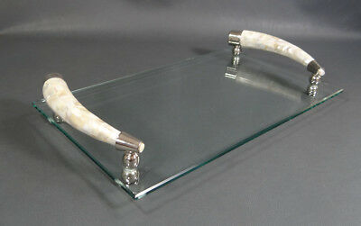 Art Deco German Cut Crystal Glass &Mother Pearl Mosaic Figural Horn Serving Tray