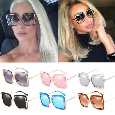 Oversized Large Square Metal Frame Designer Sunglasses Women Fashion Shades QM