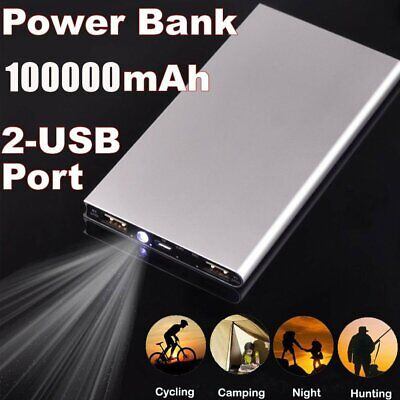 External Power Bank 100000mAh Dual USB Portable Battery Charger For Mobile Phone