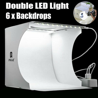 Double LED Lights Room Photo Studio Photography Lighting Tent Backdrop Cube Box