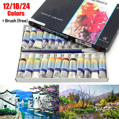 12/18/24Pcs Colors Artist Paint Watercolor Drawing Painting Box Pen Tube+Brushes