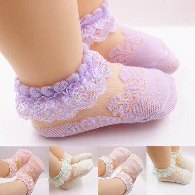 Baby Girls Kids School Socks Cotton Lace Tutu Socks Frilly Lace Ankle Socks 0-5Y