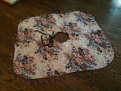 "Vintage Victorian 36"" Christmas Tree Skirt crystal beaded fringe Tapestry woven"