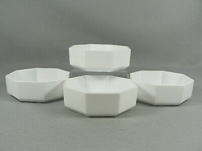 Snack Bowls Octagon Vintage Cocktail Nuts Condiment Bridge Party 4pc Set Wht
