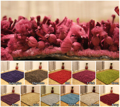 Clearance - Modern Small Medium Large Plain Dumroo Shag Pile Floor Rugs Carpets