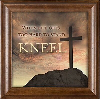 When Life Gets Too Hard to Stand, Kneel Cross Wood Finish 12x12  Wall Plaque
