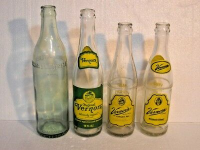 Ready Made Vernor's Ginger Ale Collection Of 4 Vintage Glass Soda Bottles Lot