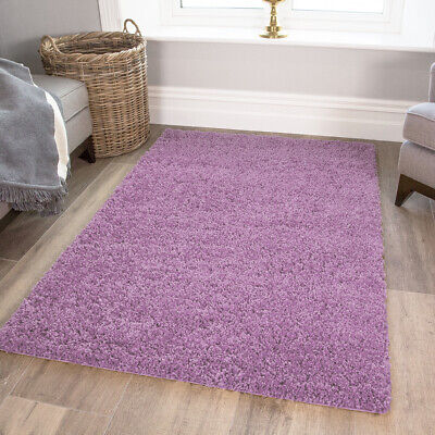Cosy Fluffy Light Purple Shaggy Rugs Soft Violet Thick Non Shed Living Room Rug