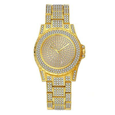 Men Hip Hop Iced  Gold Tone Techno Pave Bling Rapper Watch Simulated Crystal