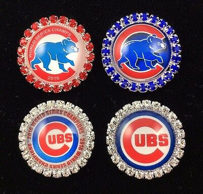 CHICAGO CUBS 27mm GLASS DOME FLATBACK CABOCHON RHINESTONE EMBELLISHMENTS 4 PCS