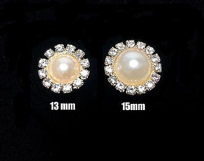 DIY 13mm 15mm  ROUND PEARL RHINESTONE GOLD BUTTON FLATBACK EMBELLISHMENT 10-100