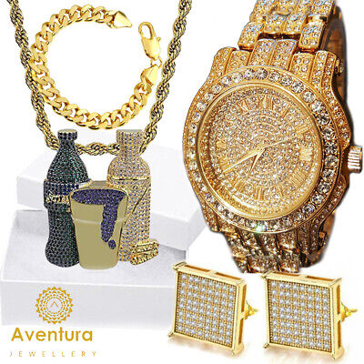 Hip Hop Iced out White Gold Techno Pave Bling Simulated Crystal Rapper Watch