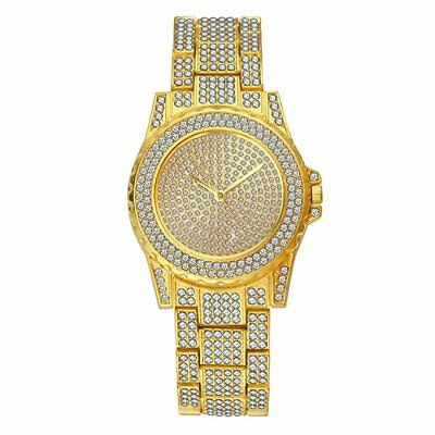 14k Yellow Gold Tone Iced out Simulated Crystal Hip Hop Rapper Techno Pave Watch