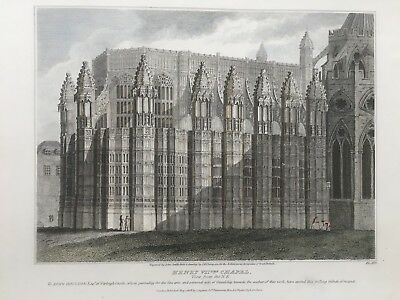 1808 Antique Print; Henry VII th Chapel, Westminster Abbey after J.R. Thompson
