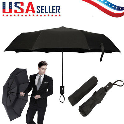 Black Automatic Travel Umbrella Auto Open Close Compact Folding Rain Windproof