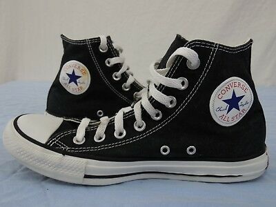 """CONVERSE ALL-STAR """"Chuck Taylor"""" Mens 7 Womens 9 High Top Shoes Sneakers BLACK"""