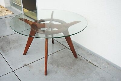 Round MCM Adrian Pearsall Craft Associates Compass Walnut Glass Dining Table