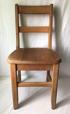 Vintage Child Size Oak Desk Chair Student School Classroom Library