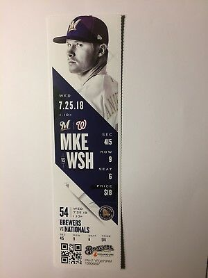 Milwaukee Brewers Vs Washington Nationals July 25, 2018 Ticket Stub