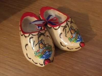 """Vintage Holland Dutch Wooden Shoes Clogs - Small 3"""" Hand Painted shoes"""