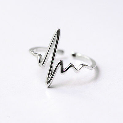 W ow 925 Sterling Silver Plain Simple Heartbeat Open Adjustable Ring FREE size