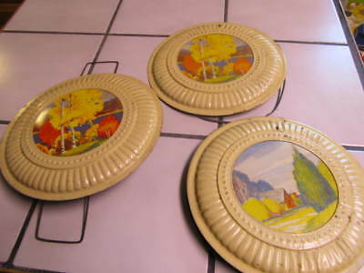 Vintage Lot Of 3 Flue Stove Pipe Covers, Country Farmhouse Landscape Theme