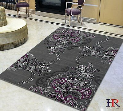 Purple/Grey/Silver/Black/Abstract Area Rug Modern Contemporary Floral and...