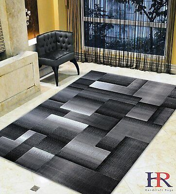 Grey/Silver/Black/Abstract Area Rug Modern Contemporary Geometric Cube and...