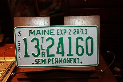 2013 Maine License Plate Semi Permanent Trailer TLR 13 24160