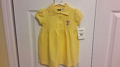 NWT Baby Girl IZOD BABY Yellow Rugby/Polo Cotton Knit Dress Size 24 months