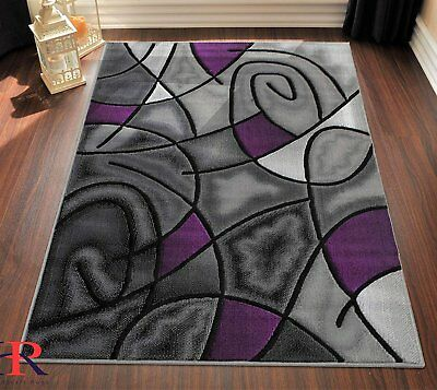Purple/Grey/Silver/Black/Abstract Area Rug Modern Contemporary Circles and...