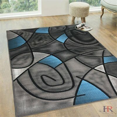 Blue/Grey/Silver/Black/Abstract Area Rug Modern Contemporary Circles and...