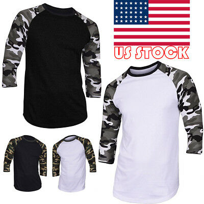 US Mens Slim Fit O Neck 3/4 Sleeve Muscle Tee Shirt Casual T-shirt Tops Blouse