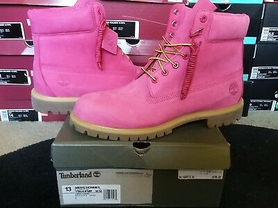 """Timberland Mens Classic 6"""" Inch Premium Pink Breast Cancer Nubuck Boots A1FMR"""