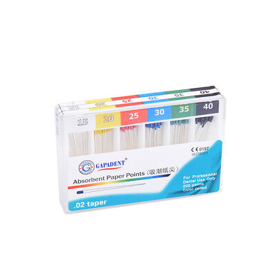 Dental Absorbent Paper Points .02Taper 15-40 Assorted Color Box of 200pcs