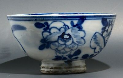 Antique Ming Qing Dynasty Min Yao Blue & White Bowl Unglazed Stacking Ring
