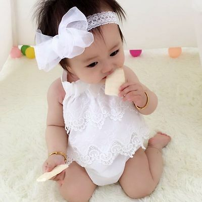 Canis Newborn Baby Girls Lace Flower Romper Bodysuit Jumpsuit Outfits Playsuit