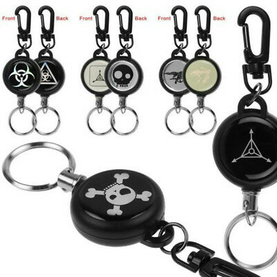 Heavy Duty Retractable Steel Reel Recoil Chain ID Holder Badge Key Ring