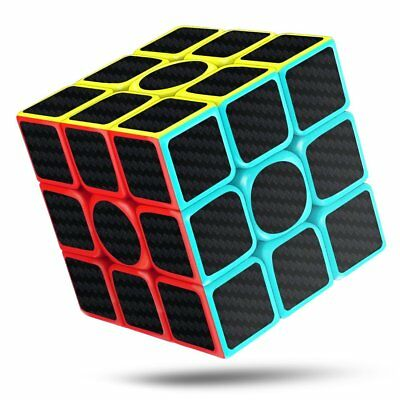 Speed Magic Cube, 3x3x3 Carbon Fiber Sticker Smooth Magic 3D Twist Puzzle Cube