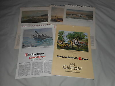 National Australia Bank Calendars - a total of 5 - 1975, 1977, 1978, 1981, 1983