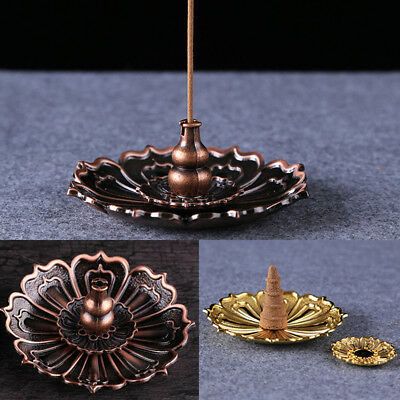 Flower Statue Buddhist Stick And Coil Incense Burner Holder Seat Plate Uk Ornate