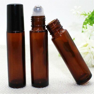 12 10ml Roller Bottle Amber THICK Glass Steel Roll on Ball for Essential Oils AU