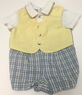 Vintage Boys Romper Vest One Piece Yellow Blue Plaid Collar Baby Togs 6-9 Months