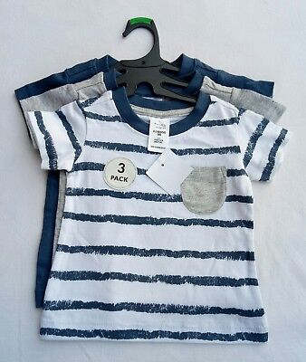 Tiny Little Wonders Boys T-shirt Bundle Size 000 Blue Grey White 3x Item NWT