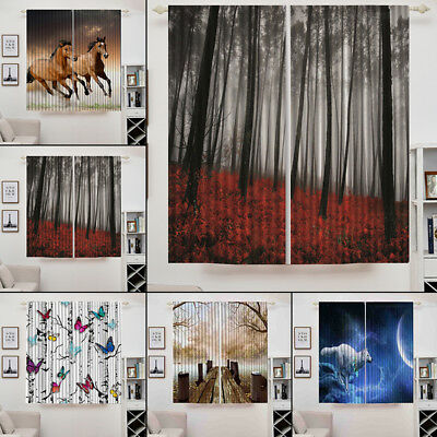 Lots 2 Panels Room Darkening Blackout Curtain Set 3D Window Artwork 140*100cm