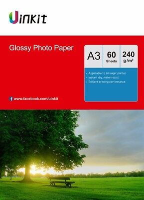 A3 Photo Paper High Glossy 240Gsm Inkjet Paper Photography Print - 60 Sheet Uink